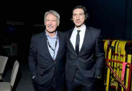 "HOLLYWOOD, CALIFORNIA - DECEMBER 16: (L-R) Harrison Ford and Adam Driver arrive for the World Premiere of ""Star Wars: The Rise of Skywalker"", the highly anticipated conclusion of the Skywalker saga on December 16, 2019 in Hollywood, California. (Photo by Charley Gallay/Getty Images for Disney)"