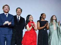 """LONDON, ENGLAND - DECEMBER 18: (L-R) Domhnall Gleeson, Richard E. Grant, Kelly Marie Tran, Naomi Ackie and Keri Russell attend the European premiere of """"Star Wars: The Rise of Skywalker"""" at Cineworld Leicester Square on December 18, 2019 in London, England. (Photo by Gareth Cattermole/Getty Images for Disney)"""