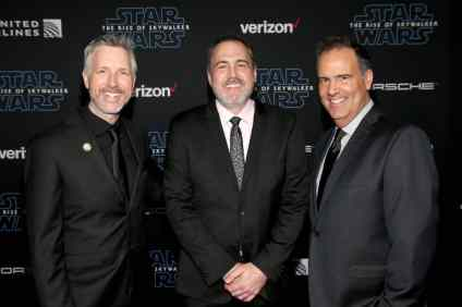 "HOLLYWOOD, CALIFORNIA - DECEMBER 16: L-R) Supervising Sound Editor Matthew Wood, Supervising Sound Editor & Sound Designer David Acord and Re-Recording Mixer Christopher Scarabosio arrive for the World Premiere of ""Star Wars: The Rise of Skywalker"", the highly anticipated conclusion of the Skywalker saga on December 16, 2019 in Hollywood, California. (Photo by Jesse Grant/Getty Images for Disney)"