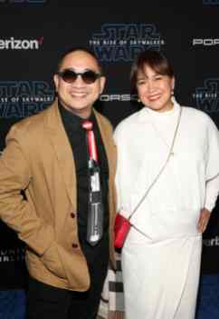 "HOLLYWOOD, CALIFORNIA - DECEMBER 16: (L-R) Michael V. and Carol Bunagan arrive for the World Premiere of ""Star Wars: The Rise of Skywalker"", the highly anticipated conclusion of the Skywalker saga on December 16, 2019 in Hollywood, California. (Photo by Jesse Grant/Getty Images for Disney)"
