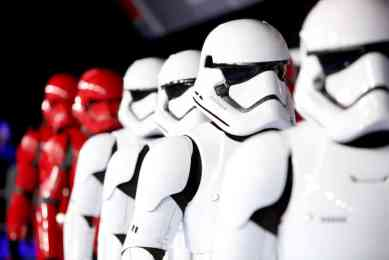 "HOLLYWOOD, CALIFORNIA - DECEMBER 16: Troopers arrive for the World Premiere of ""Star Wars: The Rise of Skywalker"", the highly anticipated conclusion of the Skywalker saga on December 16, 2019 in Hollywood, California. (Photo by Jesse Grant/Getty Images for Disney)"