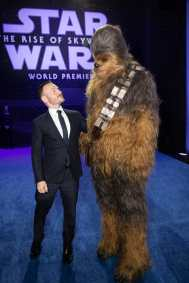 Chris Terrio and Chewbacca arrive for the World Premiere of Star Wars: The Rise of Skywalker, the highly anticipated conclusion of the Skywalker saga, in Hollywood, CA, on December 16, 2019..(photo: Alex J. Berliner/ABImages)