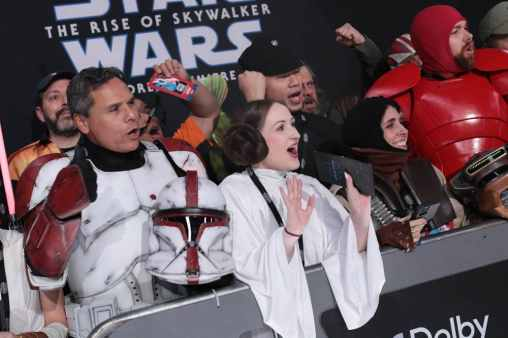 Fans at the World Premiere of Star Wars: The Rise of Skywalker, the highly anticipated conclusion of the Skywalker saga, in Hollywood, CA, on December 16, 2019. (photo: Alex J. Berliner/ABImages)