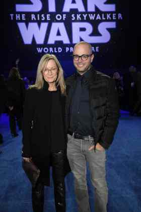 Heidi and Damon Lindelof arrive for the World Premiere of Star Wars: The Rise of Skywalker, the highly anticipated conclusion of the Skywalker saga, in Hollywood, CA, on December 16, 2019. (photo: Alex J. Berliner/ABImages)
