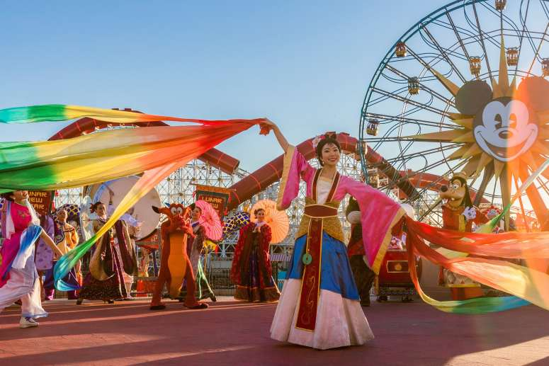 """Disneyland Resort in California welcomes a year of good fortune with Lunar New Year celebrations at Disney California Adventure from Jan. 17 – Feb. 9, 2020. Celebrating the Year of the Mouse, the limited-time festival features Mulan's Lunar New Year Procession, pictured here, plus """"Hurry Home – Lunar New Year Celebration"""" prior to """"World of Color,"""" a Lucky Wishing Wall, delectable foods and more. (Joshua Sudock/Disneyland Resort)"""