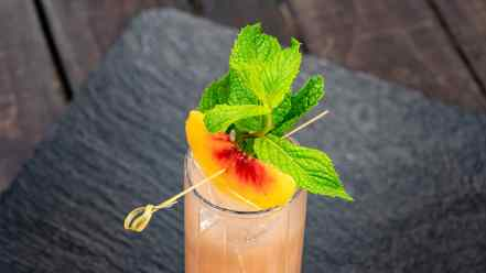This peach sojito can be found at Disney California Adventure Park as Disneyland Resort celebrates the Year of the Mouse this Lunar New Year, Jan. 17 through Feb. 9, 2020. During the 24 days of this multicultural celebration, guests will enjoy exciting live entertainment and musical performances, plus inspired food and beverage items across festival marketplaces. (David/Nguyen Disneyland Resort)