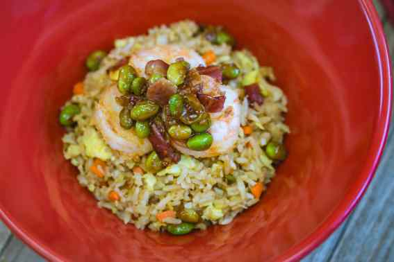 This shrimp fried rice with garlic bacon edamame can be found at Disney California Adventure Park as Disneyland Resort celebrates the Year of the Mouse this Lunar New Year, Jan. 17 through Feb. 9, 2020. During the 24 days of this multicultural celebration, guests will enjoy exciting live entertainment and musical performances, plus inspired food and beverage items across festival marketplaces. (David/Nguyen Disneyland Resort)