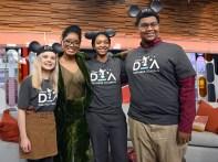 "2020 Disney Dreamers Academy students appear on the set of ""GMA3: Strahan, Sara & Keke,"" Jan. 16, 2020, in New York City. From left: Nicole Hemphill, ""GMA3"" Co-host Keke Palmer, Myah Mitchell and Patric Boyd. (Walt Disney Television/Lorenzo Bevilaqua)"