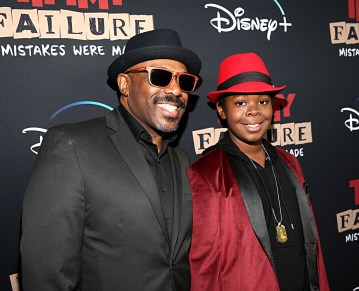 """HOLLYWOOD, CALIFORNIA - JANUARY 30: Kei (R) and guest attend the premiere of Disney's """"Timmy Failure: Mistakes Were Made"""" at Hollywood's El Capitan Theater on January 30, 2020. """"Timmy Failure: Mistakes Were Made"""" premieres on February 7, 2020, streaming only on Disney+. (Photo by Jesse Grant/Getty Images for Disney)"""
