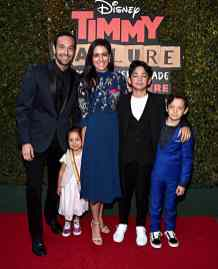 """HOLLYWOOD, CALIFORNIA - JANUARY 30: Santiago Veizaga (2nd R) and guests attend the premiere of Disney's """"Timmy Failure: Mistakes Were Made"""" at Hollywood's El Capitan Theater on January 30, 2020. """"Timmy Failure: Mistakes Were Made"""" premieres on February 7, 2020, streaming only on Disney+. (Photo by Alberto E. Rodriguez/Getty Images for Disney)"""