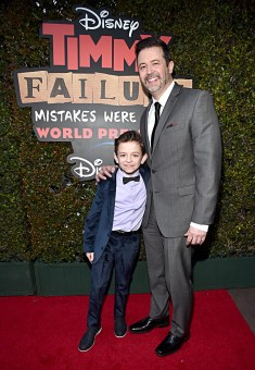 """HOLLYWOOD, CALIFORNIA - JANUARY 30: Actor Winslow Fegley and Writer/screenwriter Stephan Pastis attend the premiere of Disney's """"Timmy Failure: Mistakes Were Made"""" at Hollywood's El Capitan Theater on January 30, 2020. """"Timmy Failure: Mistakes Were Made"""" premieres on February 7, 2020, streaming only on Disney+. (Photo by Alberto E. Rodriguez/Getty Images for Disney)"""