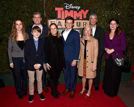 """HOLLYWOOD, CALIFORNIA - JANUARY 30: Producer Jim Whitaker (2nd L) and guests attend the premiere of Disney's """"Timmy Failure: Mistakes Were Made"""" at Hollywood's El Capitan Theater on January 30, 2020. """"Timmy Failure: Mistakes Were Made"""" premieres on February 7, 2020, streaming only on Disney+. (Photo by Alberto E. Rodriguez/Getty Images for Disney)"""