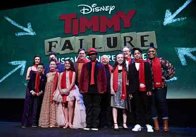 """HOLLYWOOD, CALIFORNIA - JANUARY 30: Ophelia Lovibond, Winslow Fegley, Caitlin Weierhauser, Chloe Coleman, Ai-Chan Carrier, Kyle Bornheimer, Kei, Wallace Shawn, Ruby Matenko, Director Tom McCarthy, Santiago Veizaga and Yvette Nicole Brown attend the premiere of Disney's """"Timmy Failure: Mistakes Were Made"""" at Hollywood's El Capitan Theater on January 30, 2020. """"Timmy Failure: Mistakes Were Made"""" premieres on February 7, 2020, streaming only on Disney+. (Photo by Alberto E. Rodriguez/Getty Images for Disney)"""