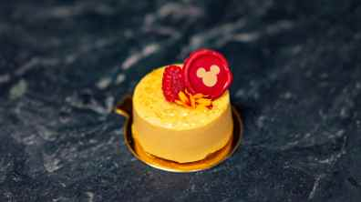 This mango mousse can be found at Disney California Adventure Park as Disneyland Resort celebrates the Year of the Mouse this Lunar New Year, Jan. 17 through Feb. 9, 2020. During the 24 days of this multicultural celebration, guests will enjoy exciting live entertainment and musical performances, plus inspired food and beverage items across festival marketplaces. (David/Nguyen Disneyland Resort)