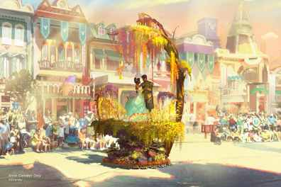 "Set to debut Feb. 28, 2020, at Disneyland Park in California, the new ""Magic Happens"" parade will celebrate the awe-inspiring moments of magic that are at the heart of so many Disney stories This new daytime spectacular will feature stunning floats, beautiful costumes, and beloved Disney characters. Depicted in this image, Tiana and Naveen from ""The Princess and the Frog"" are seen amidst a swirl of golden flowers where they share a kiss, completing their transformation back into human forms. (Disney)"