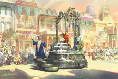 "Set to debut Feb. 28, 2020, at Disneyland Park in California, the new ""Magic Happens"" parade will celebrate the awe-inspiring moments of magic that are at the heart of so many Disney stories. This new daytime spectacular will feature stunning floats, beautiful costumes, and beloved Disney characters. Depicted in this image, Merlin from ""The Sword in the Stone"" wisely leads the way for young Arthur, who finds the magic within himself as he pulls the sword from the stone, claiming his place upon the throne. (Disney)"