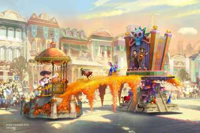 "Set to debut Feb. 28, 2020, at Disneyland Park in California, the new ""Magic Happens"" parade will come to life with an energetic musical score and a new song co-composed by singer-songwriter Todrick Hall. The parade will feature stunning floats, beautiful costumes, and beloved Disney characters. Depicted in this image, Miguel appears in person for the first time, celebrating the magic that happens when he strums the guitar of Ernesto de la Cruz in the Disney and Pixar film ""Coco."" This spectacular float bridges the Land of the Living and the Land of the Dead with vibrant marigolds, and fantastical alebrije spirit animals join the procession, along with Miguel's dog Dante. (Disney)"