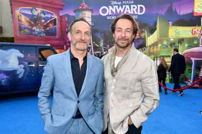 HOLLYWOOD, CALIFORNIA - FEBRUARY 18: (L-R) Composers Mychael Danna and Jeff Danna attend the world premiere of Disney and Pixar's ONWARD at the El Capitan Theatre on February 18, 2020 in Hollywood, California. (Photo by Alberto E. Rodriguez/Getty Images for Disney)