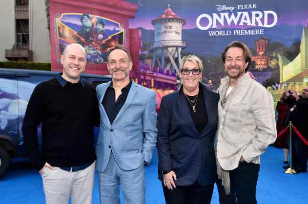 HOLLYWOOD, CALIFORNIA - FEBRUARY 18: (L-R) Director/screenwriter Dan Scanlon, composer Mychael Danna, producer Kori Rae, and composer Jeff Danna attend the world premiere of Disney and Pixar's ONWARD at the El Capitan Theatre on February 18, 2020 in Hollywood, California. (Photo by Alberto E. Rodriguez/Getty Images for Disney)