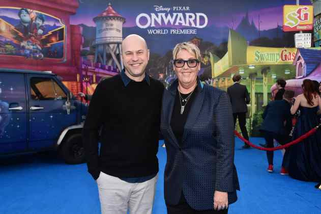 HOLLYWOOD, CALIFORNIA - FEBRUARY 18: (L-R) Director/screenwriter Dan Scanlon and producer Kori Rae attend the world premiere of Disney and Pixar's ONWARD at the El Capitan Theatre on February 18, 2020 in Hollywood, California. (Photo by Alberto E. Rodriguez/Getty Images for Disney)