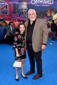HOLLYWOOD, CALIFORNIA - FEBRUARY 18: (L-R) Kaylin Hayman and John Ratzenberger attend the world premiere of Disney and Pixar's ONWARD at the El Capitan Theatre on February 18, 2020 in Hollywood, California. (Photo by Alberto E. Rodriguez/Getty Images for Disney)