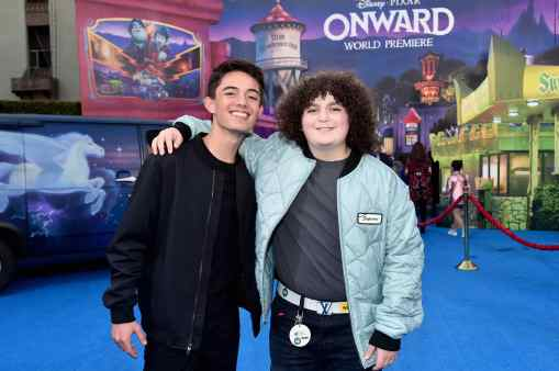 HOLLYWOOD, CALIFORNIA - FEBRUARY 18: (L-R) Max Torina and Elie Samouhi attend the world premiere of Disney and Pixar's ONWARD at the El Capitan Theatre on February 18, 2020 in Hollywood, California. (Photo by Alberto E. Rodriguez/Getty Images for Disney)