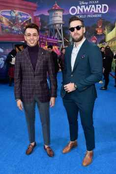 HOLLYWOOD, CALIFORNIA - FEBRUARY 18: (L-R) Blake Scott and George LaBoda attend the world premiere of Disney and Pixar's ONWARD at the El Capitan Theatre on February 18, 2020 in Hollywood, California. (Photo by Alberto E. Rodriguez/Getty Images for Disney)