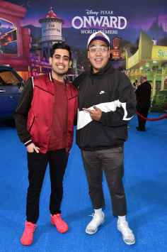 HOLLYWOOD, CALIFORNIA - FEBRUARY 18: (L-R) Omar Raja and C.J. Toledano attends the world premiere of Disney and Pixar's ONWARD at the El Capitan Theatre on February 18, 2020 in Hollywood, California. (Photo by Alberto E. Rodriguez/Getty Images for Disney)