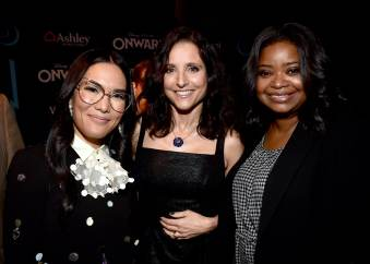 HOLLYWOOD, CALIFORNIA - FEBRUARY 18: (L-R) Ali Wong, Julia Louis-Dreyfus, and Octavia Spencer attend the world premiere of Disney and Pixar's ONWARD at the El Capitan Theatre on February 18, 2020 in Hollywood, California. (Photo by Alberto E. Rodriguez/Getty Images for Disney)