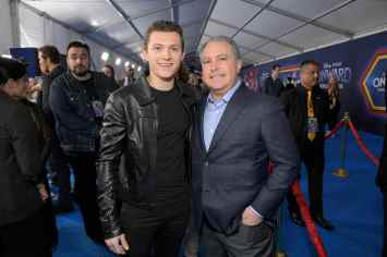 HOLLYWOOD, CALIFORNIA - FEBRUARY 18: (L-R) Tom Holland and Co-Chairman, The Walt Disney Studios Alan Bergman attend the world premiere of Disney and Pixar's ONWARD at the El Capitan Theatre on February 18, 2020 in Hollywood, California. (Photo by Charley Gallay/Getty Images for Disney)