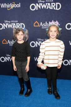 HOLLYWOOD, CALIFORNIA - FEBRUARY 18: (L-R) Mila Stauffer and Emma Stauffer attend the world premiere of Disney and Pixar's ONWARD at the El Capitan Theatre on February 18, 2020 in Hollywood, California. (Photo by Jesse Grant/Getty Images for Disney)