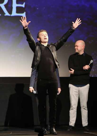 HOLLYWOOD, CALIFORNIA - FEBRUARY 18: Tom Holland and Director/screenswriter Dan Scanlon speak onstage during the world premiere of Disney and Pixar's ONWARD at the El Capitan Theatre on February 18, 2020 in Hollywood, California. (Photo by Jesse Grant/Getty Images for Disney)