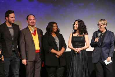 HOLLYWOOD, CALIFORNIA - FEBRUARY 18: (L-R) Chris Pratt, Mel Rodriguez, Octavia Spencer, Julia Louis-Dreyfus, and Producer Kori Rae speak onstage at the world premiere of Disney and Pixar's ONWARD at the El Capitan Theatre on February 18, 2020 in Hollywood, California. (Photo by Jesse Grant/Getty Images for Disney)