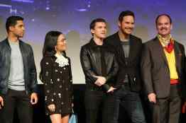 HOLLYWOOD, CALIFORNIA - FEBRUARY 18: (L-R) Wilmer Valderrama, Ali Wong, Tom Holland, Chris Pratt and Mel Rodriguez speak onstage at the world premiere of Disney and Pixar's ONWARD at the El Capitan Theatre on February 18, 2020 in Hollywood, California. (Photo by Jesse Grant/Getty Images for Disney)