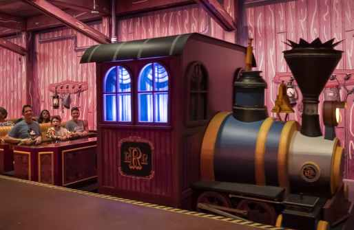 Guests prepare to disembark the Runnamuck Railroad after experiencing Mickey & Minnie's Runaway Railway during the new attraction's opening day, March 4, 2020, at Disney's Hollywood Studios at Walt Disney World Resort in Lake Buena Vista, Fla. (Kent Phillips, photographer)