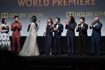 HOLLYWOOD, CALIFORNIA - MARCH 09: (L-R) Rosalind Chao, Yoson An, Jet Li, Yifei Liu, Director Niki Caro, Donnie Yen, Jason Scott Lee, Tzi Ma, and Ron Yuan speak onstage during the World Premiere of Disney's 'MULAN' at the Dolby Theatre on March 09, 2020 in Hollywood, California. (Photo by Alberto E. Rodriguez/Getty Images for Disney)