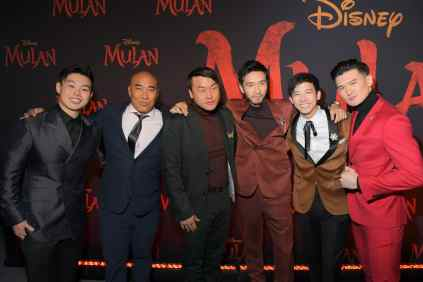 HOLLYWOOD, CALIFORNIA - MARCH 09: (L-R) Jun Yu, Ron Yuan, Doua Moua, Yoson An, Jimmy Wong, and Chen Tang attend the World Premiere of Disney's 'MULAN' at the Dolby Theatre on March 09, 2020 in Hollywood, California. (Photo by Charley Gallay/Getty Images for Disney)
