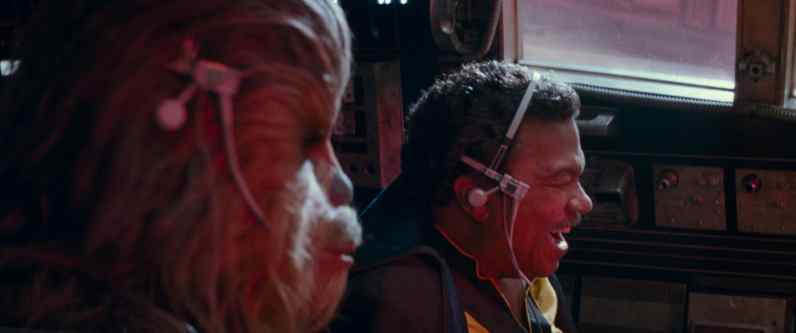 Joonas Suotamo is Chewbacca and Billy Dee Williams is Lando Calrissian in STAR WARS: THE RISE OF SKYWALKER
