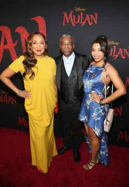HOLLYWOOD, CALIFORNIA - MARCH 09: (L-R) Stephanie Cozart Burton, LeVar Burton, and Michaela Jean Burton attend the World Premiere of Disney's 'MULAN' at the Dolby Theatre on March 09, 2020 in Hollywood, California. (Photo by Jesse Grant/Getty Images for Disney)