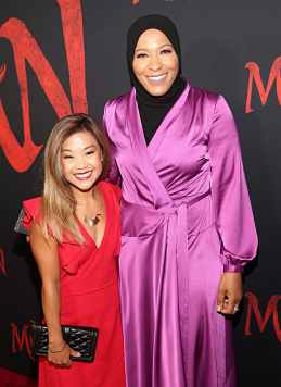 HOLLYWOOD, CALIFORNIA - MARCH 09: (L-R) Scout Bassett and Ibtihaj Muhammad attend the World Premiere of Disney's 'MULAN' at the Dolby Theatre on March 09, 2020 in Hollywood, California. (Photo by Jesse Grant/Getty Images for Disney)