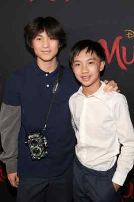 HOLLYWOOD, CALIFORNIA - MARCH 09: (L-R) Forrest Wheeler and Ian Chen attend the World Premiere of Disney's 'MULAN' at the Dolby Theatre on March 09, 2020 in Hollywood, California. (Photo by Jesse Grant/Getty Images for Disney)