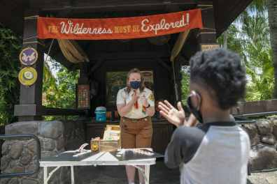 A guest explores Disney's Animal Kingdom Theme Park, July 11, 2020, at Walt Disney World Resort in Lake Buena Vista, Fla., on the first day of the theme park's phased reopening. (Olga Thompson, Photographer)