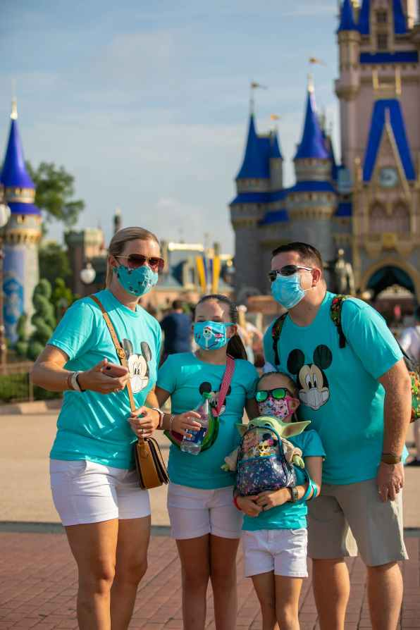 Guests stop to take a photo at Magic Kingdom Park, July 11, 2020, at Walt Disney World Resort in Lake Buena Vista, Fla., on the first day of the theme park's phased reopening. (Olga Thompson, photographer)