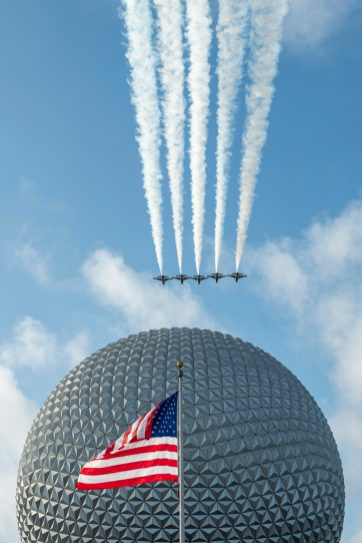 U.S. Air Force Thunderbirds fly over Spaceship Earth at EPCOT at Walt Disney World Resort in Lake Buena Vista, Fla., Oct. 29, 2020, as a kickoff for National Veterans and Military Families Month in November. (David Roark, photographer)