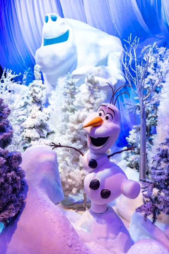 """The Taste of EPCOT International Festival of the Holidays presented by AdventHealth brings seasonal fun from around the globe to the Walt Disney World Resort theme park in Lake Buena Vista, Fla., through Dec. 31, 2020. Guests can discover holiday décor throughout the park, including this """"Frozen"""" display in World Showplace. (Matt Stroshane, photographer)"""