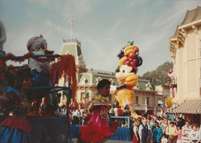 Minnie Mouse was dressed as Carmen Miranda for her inflatable.