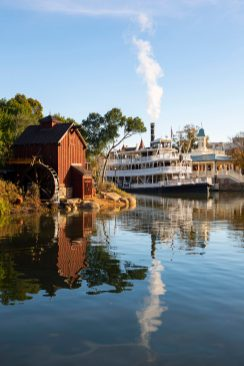 The Liberty Belle riverboat returns to its dock in Liberty Square, following a four-month scheduled refurbishment of Rivers of America in Magic Kingdom Park at Walt Disney World Resort in Lake Buena Vista, Fla. While cast members replaced her underwater track and updated sections of the surrounding areas, the boat was sent to a temporary dry dock. (David Roark, photographer)