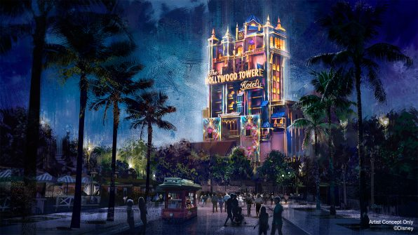 "In this artist rendering, the Hollywood Tower Hotel becomes a Beacon of Magic in Disney's Hollywood Studios at Walt Disney World Resort in Lake Buena Vista, Fla. As part of ""The World's Most Magical Celebration"" honoring Walt Disney World Resort's 50th anniversary beginning Oct. 1, 2021, the tower and other icons at each Walt Disney World theme park will come to life at night with their own EARidescent glow. (Disney)"
