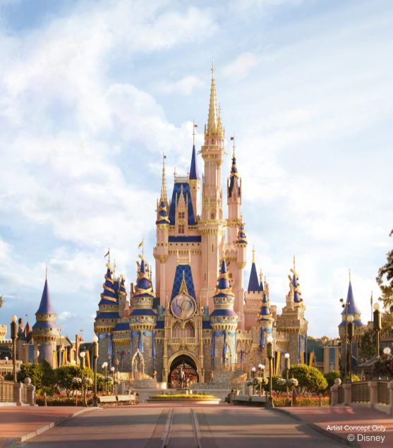"In this artist rendering, Cinderella Castle shines with new golden and EARidescent décor at Magic Kingdom Park as part of ""The World's Most Magical Celebration,"" which begins Oct. 1, 2021, in honor of the 50th anniversary of Walt Disney World Resort in Lake Buena Vista, Fla. (Disney)"
