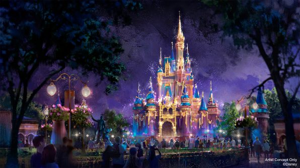 "In this artist rendering, Cinderella Castle becomes a Beacon of Magic in Magic Kingdom Park at Walt Disney World Resort in Lake Buena Vista, Fla. As part of ""The World's Most Magical Celebration"" honoring Walt Disney World Resort's 50th anniversary beginning Oct. 1, 2021, the castle and other icons at each Walt Disney World theme park will come to life at night with their own EARidescent glow. (Disney)"